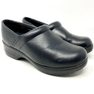 SHOES FOR CREWS Black Leather Slip On Work Shoes